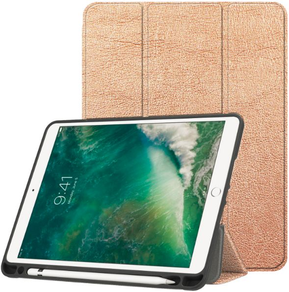 buy popular 5428d 1bc04 Gold Case with Pencil Holder For APPle iPad 9.7 inch PU Leather Smart Cover  Auto Sleep Wake