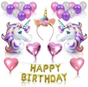 734321c77 Unicorn Party Supplies and Decorations Set - With Glitter Unicorn Headband  Unicorn Balloons Gold Happy Birthday Banner Latex & Foil Balloons 26 Piece  ...