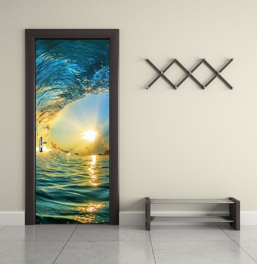 3d Novelty Ocean Wave Waterfall Door Wallpaper Wall Sticker Design