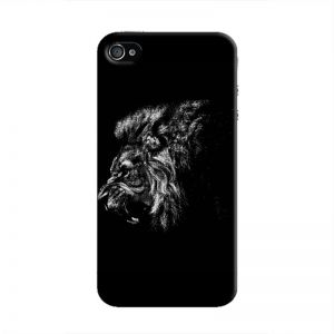 Cover It Up - Lion Profile BW iPhone 4/4s Hard Case