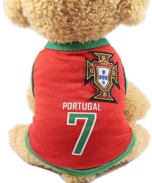 a4783b847 Pet Clothes Football T-shirt Dogs Cats Costume National Soccer World Cup  FIFA Jersey for Pet Portugal-M Size