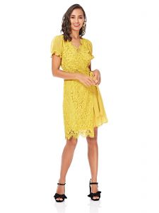 182a74c323 Little Mistress Wrap Dress for Women - Yellow