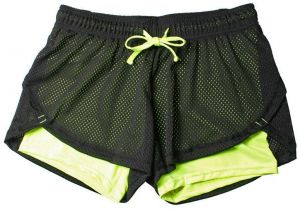 607d5532731 2 in 1 Summer Yoga Shorts Mesh Breathable for Running Athletic Sport Fitness