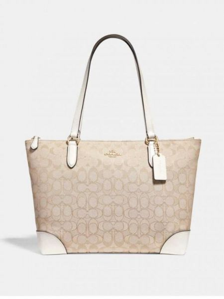 817cfac19dfea COACH F29958 Signature Jacquard Zip Tote Bag Purse