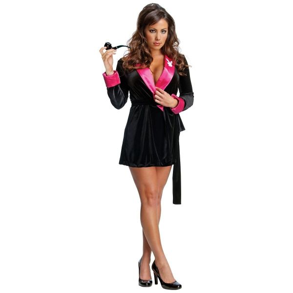 8e417254f49 Secret Wishes Women's Playboy Hef Smoking Jacket Costume, Black/Pink, Large