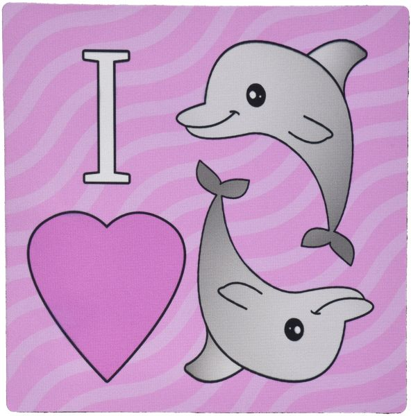 3dRose LLC 8 x 8 x 0.25 Inches Mouse Pad, I Love Dolphins, Pink (mp_24728_1)