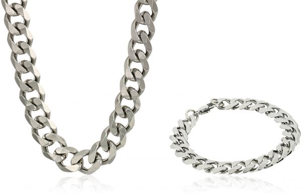3f8c32ff80bce Crucible Jewelry Mens Stainless Steel Curb Chain Bracelet 8.5-Inch and  Necklace 24-Inch Set with Keychain Jewelry Set, White, One Size