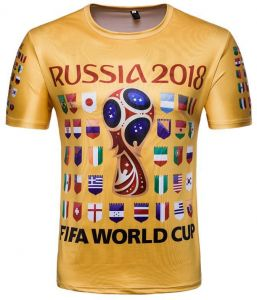 fd05644d Russia World Cup Soccer Top 32 National Flag printed Personality Short  Sleeve Souvenir T-shirts- XL