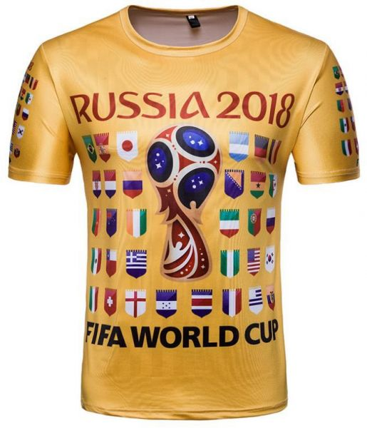 b0ee8c00b695 Russia World Cup Soccer Top 32 National Flag printed Personality Short  Sleeve Souvenir T-shirts- XXL
