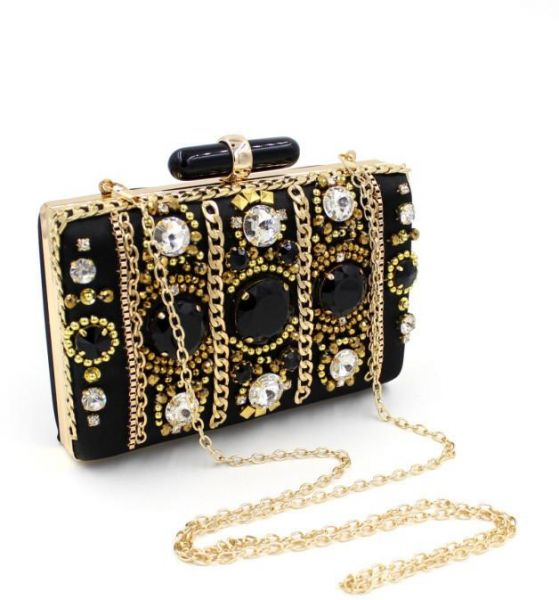 Argento Dubai Elegant Black Gold Beaded Clutches Evening Bag for Women efe64318edb65