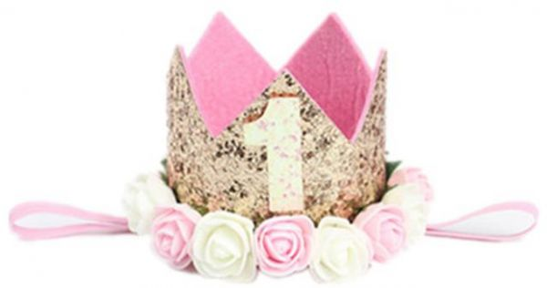 Baby Girl First Birthday Decor Flower Party Cap Crown Headband 1 Year Number Priness Style Hat Hair Accessory