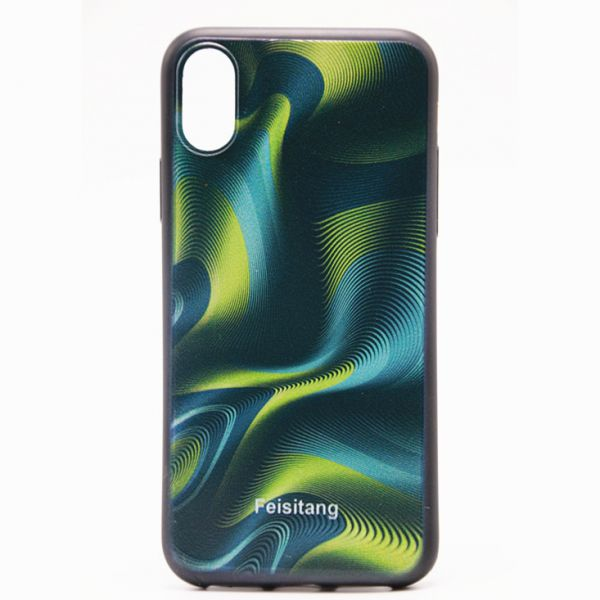 IPhone X Phone case, Curves Pattern 3D Visual Effects TPU Phone Protection  Cover Green