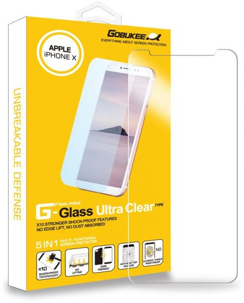 GOBUKEE IPHONE X ULTRA CLEAR DUAL FORCE TEMPERED GLASS SCREEN PROTECTOR  WITH ANTI-SHOCK BACK PROTECTOR - MADE IN KOREA