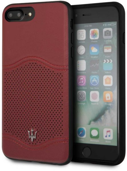 official photos d0f5f c5ccc Maserati Granlusso Genuine Leather Hard Case for iPhone 8 Plus / 7 Plus -  Burgundy