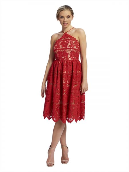 a8b7ad2223fd Forever Unique Lace Midi Skater Dress for Women - Red
