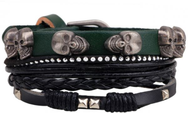 Classical skull head Rivet bracelet Personality rope knitting muti-chain bracelet cool hand accessory for