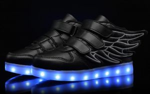 ed2423c1a61 Color change fashion LED light shoes for fun party shoes rechargable LED  Sneakers USB Charging shoes with wings black color