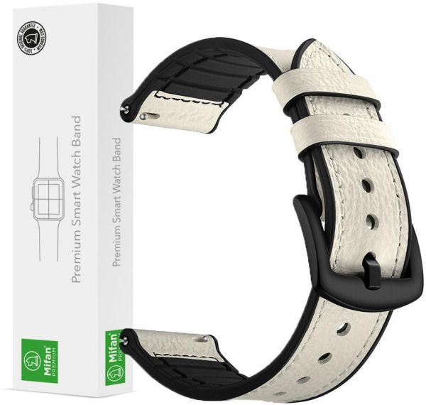 8eaff19f384 Samsung Gear S3 Watch Band 22mm Mifan Strap Replacement Premium Hybrid Soft  Silicone Genuine Leather Sports Wristband Bracelet White with Black Clasp  Buckle ...