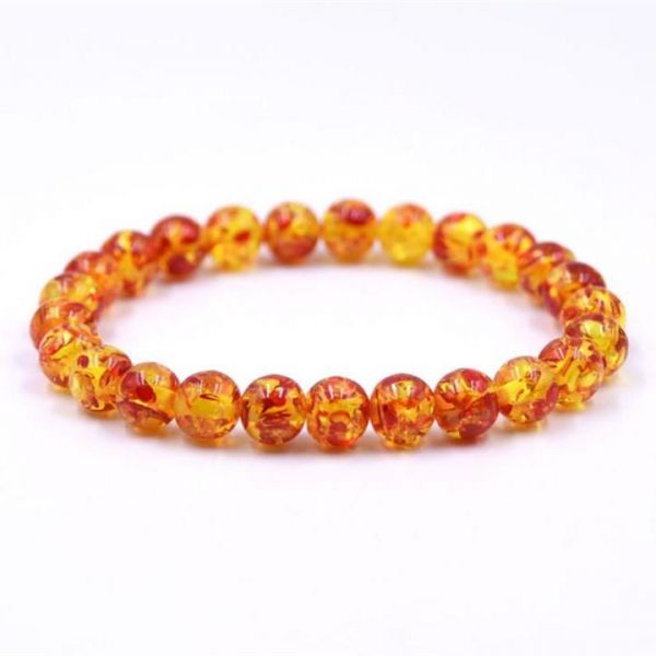 Amber Crystal Bead Bracelet for Women 8mm Gemstone Bracelet