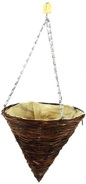 Master Garden Products Rattan Cone Hanging Basket Planter, 14 By 15 Inch