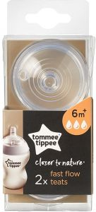 Baby Enthusiastic New Tommee Tippee Closer To Nature Fast Flow Teats 2 Pack