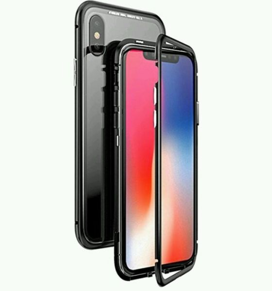 sports shoes 2a330 50583 Apple IPhone X cover/case, magnet with aluminium metal housing bumper case  , 99.9 percent crystal clear 9H tempered glass back case, black