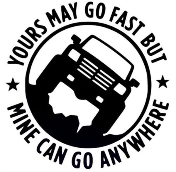 "Vinyl Decal Car Sticker for Jeep Enthusiasts ""Yours May Go Fast But Mine Can Go Anywhere""‫(Black)"