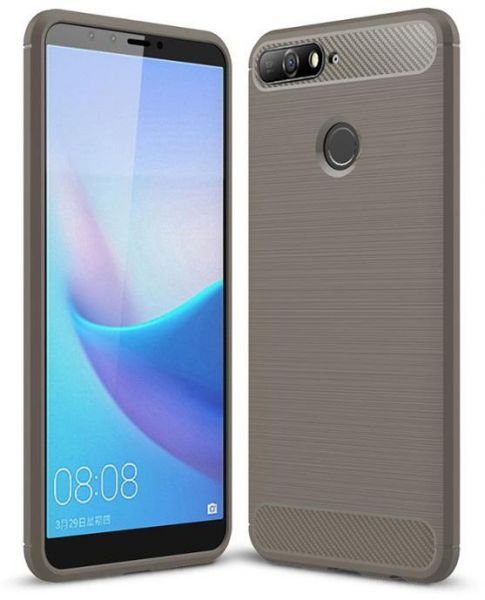 the latest b1611 67223 Huawei Y6 Prime 2018 case, Brushed Silicone Carbon Fiber Cover case - Grey