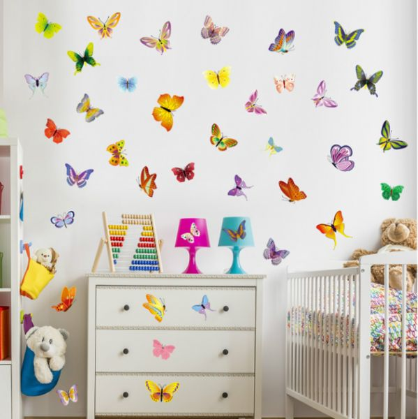 Colorful Butterfly Wall Stickers Decals Art , Butterflies Wallpaper Home  Decor for Kids Girls Living room Bedroom Kitchen Bathroom