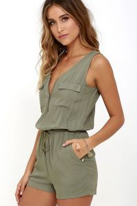 01b7069fbee4 Army Green Summer V Neck Women s Casual Sleeveless Jumpsuits Rompers
