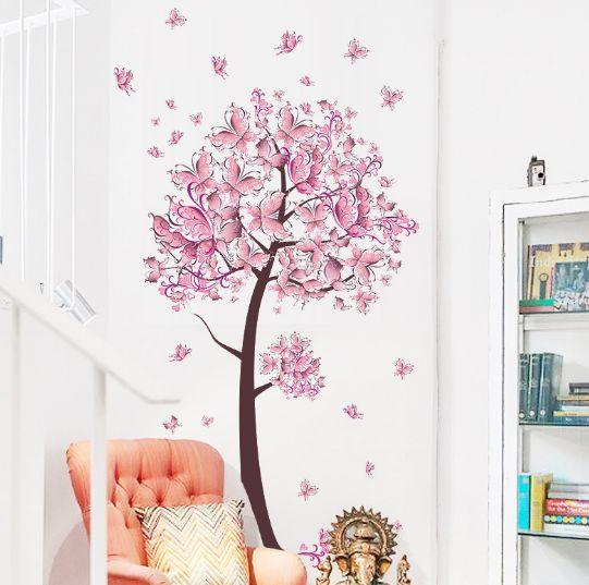 butterfly tree wall stickers pink color bedroom living room