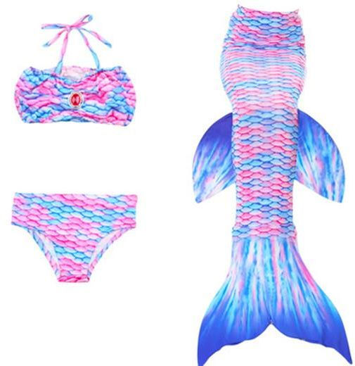 5af0c32323f2 Set of 3 Children Mermaid Tail with Monofin Kids Girls Costumes Swimming  Mermaid Tail Mermaid Swimsuit Flipper for girls(110-120CM)