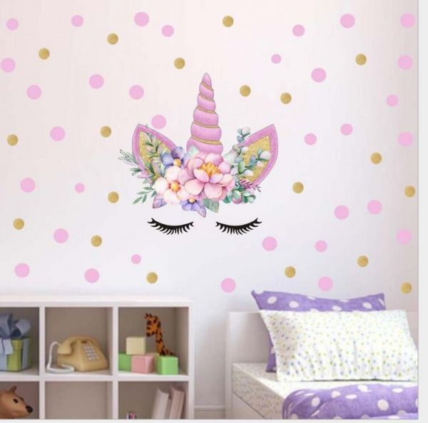 Magic Cartoon Unicorn Color Wall Stickers For Girls Bedroom Colorful ...