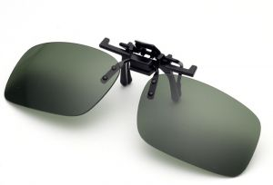 Small Green Polarized Night Vision Lens Clip-on Flip up Sunglasses Lenses Glasses Unbreakable Driving Fishing Outdoor Sport