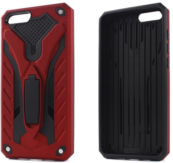 low priced a54f0 f3aef Oppo A83 Dual Layer Hybrid Knight Armor Case With Kickstand Shockproof TPU  Rubber & PC Hard Cover - Red