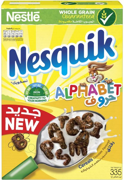 Nestle Nesquik Chocolate Alphabets Breakfast Cereal, 335 gm