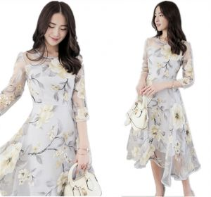 Korean Style Flower Printed Organza Party Club Evening Dress For
