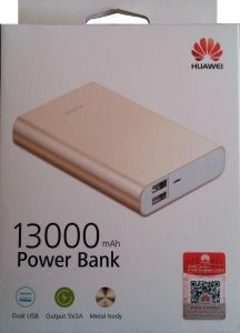 Huawei 13000mAh Wired Power Bank for Mobile Phones - AP007, Gold