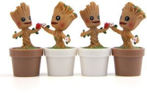 4pcs Lovely Mini Baby Groot Toys Bonsai Garden Small Ornament Landscape Home Garden Decoration Dolls Gifts Qy