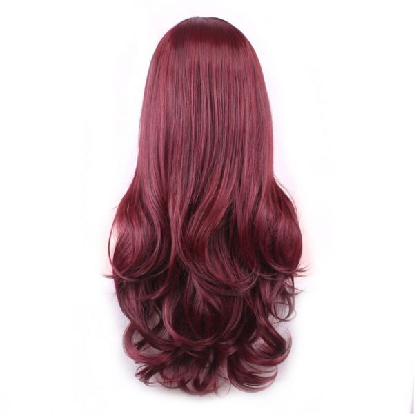Buy Wine Red Long Curly Full Wig With Bangs Ksa Souq