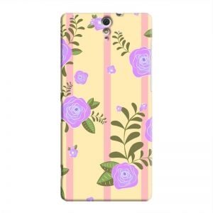 Cover It Up - Rose Large Flower Pink Stripes Sony Xperia C5 Ultra Hard Case