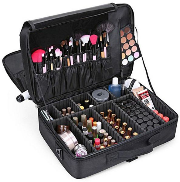 Large Capacity Makeup Case 3 Layers Cosmetic Organizer Brush Bag Train Artist Box For Hair Curler Straightener Set And