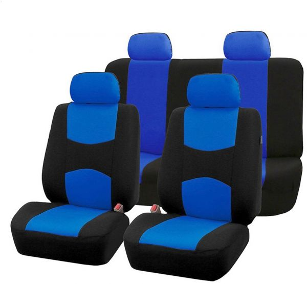 UNIVERSAL Blue Black CAR SEAT COVERS Full Set Sporty Washable Airbag