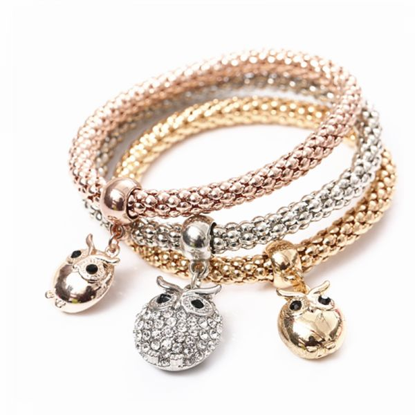 3 Pcs Set Crystal Owl Crown Metal Charm Bracelets Bangles Rose Gold Color  Elephant Heart Pendant Rhinestone Bracelet Women  6d818bf42095