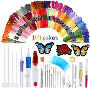 Magic Embroidery Pen Punch Needle Embroidery Patterns Punch Needle Kit Craft Tool Embroidery Pen Set, Threads for Sewing Knitting DIY Threaders
