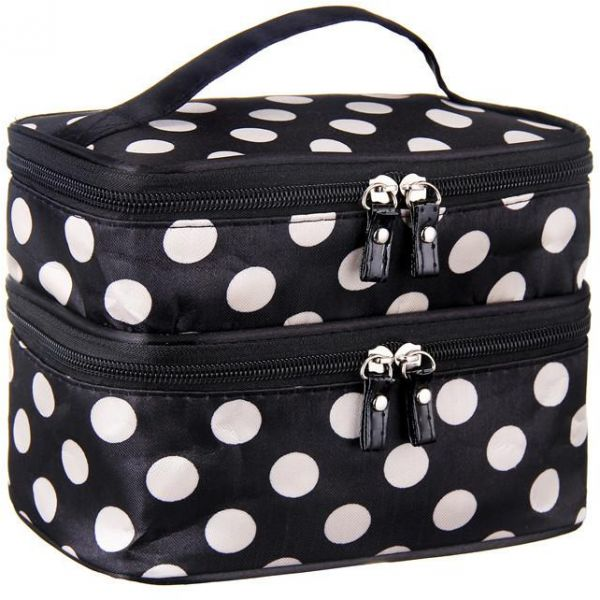 39a839328985 Double Layer Cosmetic Bag Black with White Dot Travel Toiletry ...
