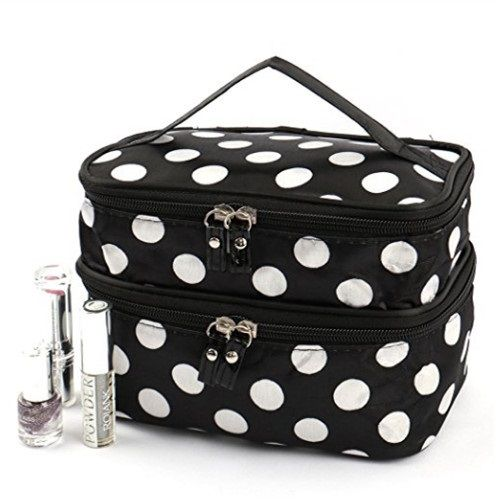549dc7e6a1d1 Double Layer Cosmetic Bag Black with White Dot Travel Toiletry Cosmetic  Makeup Bag With Mirror