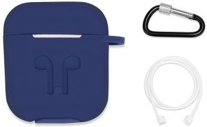 AirPods case with Strap Protective Silicone cover with Carabiner for Apple AirPods