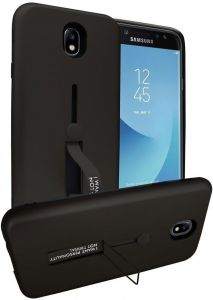 Samsung Galaxy J7 Pro Matte Shockproof Ring Stand PC+TPU Back case Cover - Black