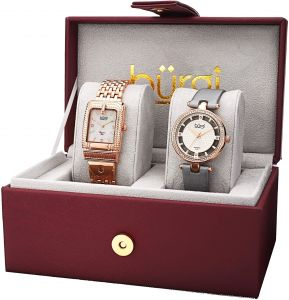 4bb79fd2d Burgi Women's Diamond and Crystal Accented Bracelet & Satin Watch Set -  BUR178RG-S